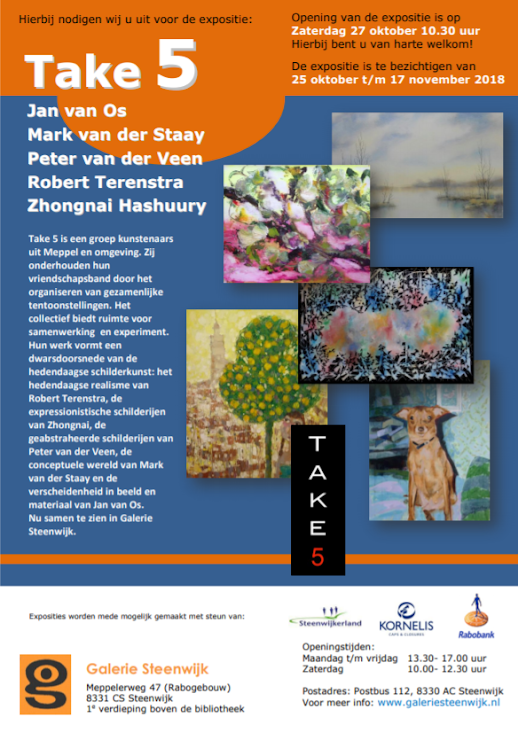 2018. Poster Take 5 expo, Galerie Steenwijk.