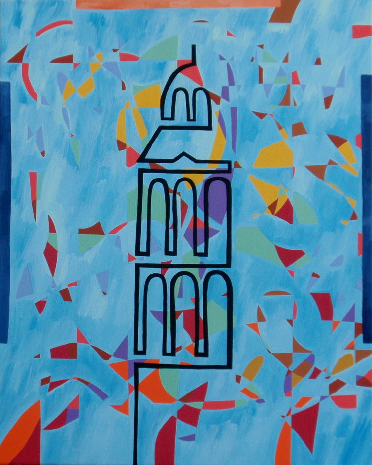 1994. Meppeler toren/Tower of Meppel (1). Oil on canvas 50x40 cm.