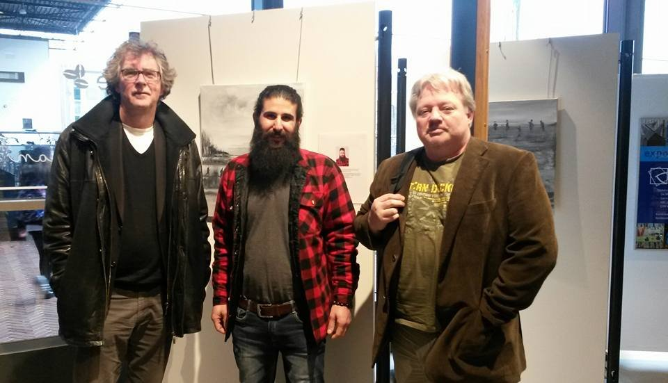 "2016. Bespreking  ""Over the wall"" expo, met Tamer Maklad en Jacob Bos."